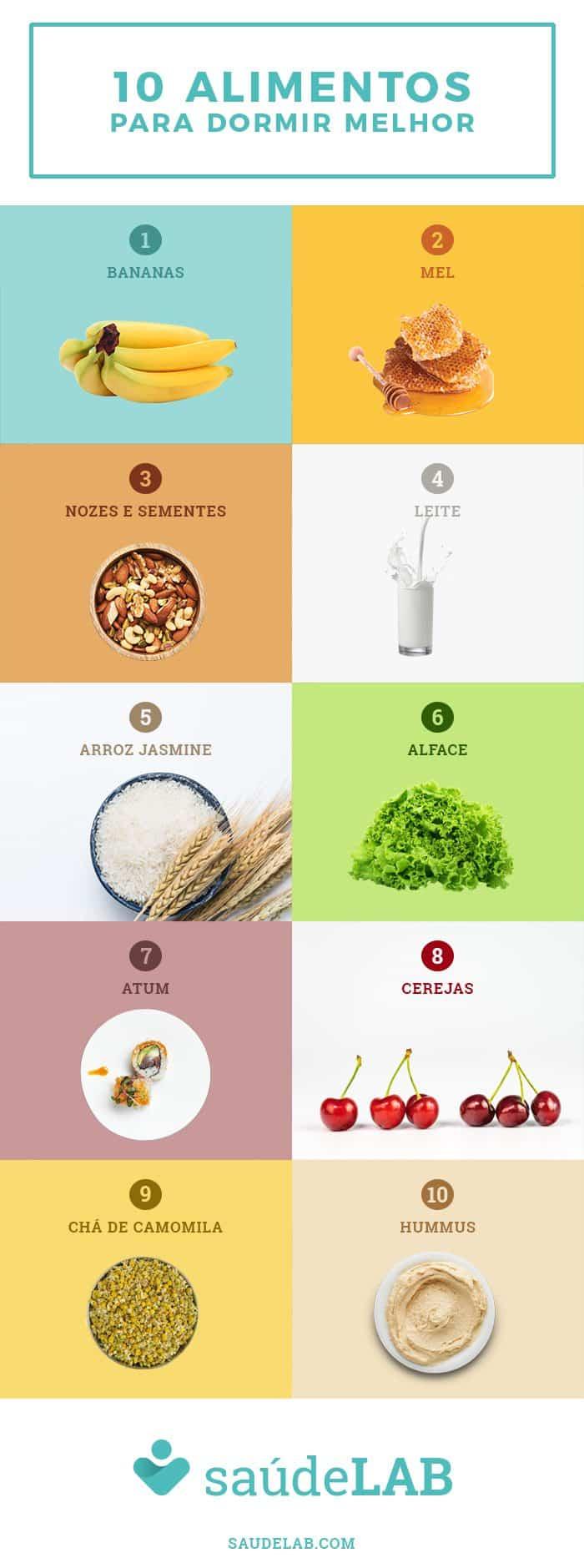 INFOGRAFIA 10 alimentos dormir melhor